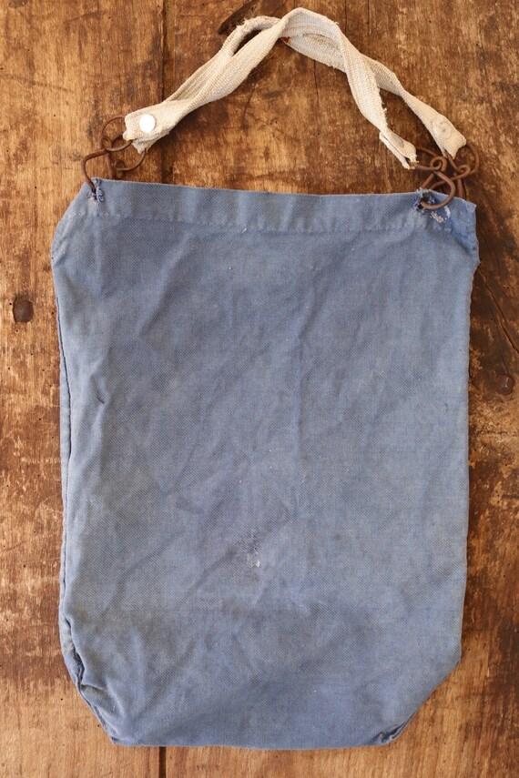 "Vintage 1940s 40s french blue cotton twill bleu de travail wine bottle bag workwear chore work 9.5"" x 13.5"" handmade farmer tote picnic"