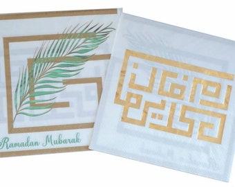 Ramadan Mubarak Kufi Key and Palm Ramadan Napkin Arabic English White and Gold