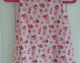 Pink Rose Heart Girls Pinafore Dress Age 6 months