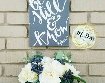 Be Still And Know, Bible Verse Decor, Scripture Art, Home Decor, Bible Verse Art, Hand Painted Acrylic Canvas, Modern Calligraphy, Wall Art