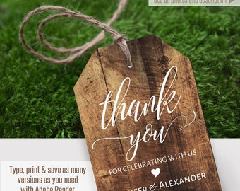 Pritnable Thank you tags, rustic gift tags, Wedding template, Instant Download, Self Editable PDF file T102