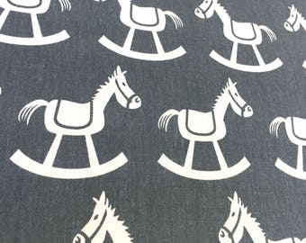Rocking Horse Premier Navy Denim Blue Premier Prints Fabric Home Decorating Fabric By The Yard Cotton Twill