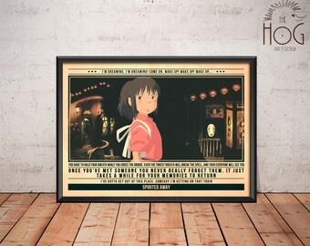 Spirited Away Poster - Quote Retro Movie Poster - Movie Print, Film Poster, Wall Art, Miyazaki Art