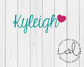 Name with Heart Decal - Personalized Name Decal - Custom Name Decal - Any Word Decal - Name Decal - Word Decal - Vinyl Decal - Preppy