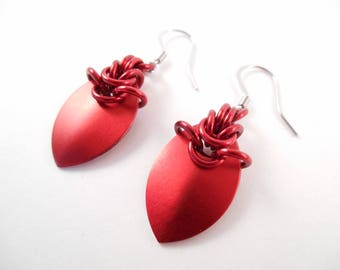 Red Scale Earrings - Small Red Anodized Aluminum Scale Maille Earrings