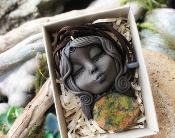 Unakite Goddess Necklace. Handcrafted Clay & Gemstone Pendant.  . Handmade Clay Jewelry . Goddess . Crystal and Gemstone Jewelry