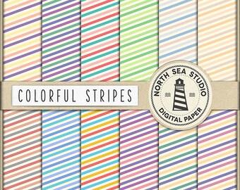 BUY5FOR8 Striped Digital Paper Stripes Paper Striped Backgrounds Digital Scrapbooking 12 JPG 300 dpi Files Download