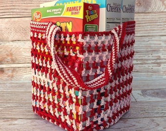 Reusable Grocery Bag - farmers market tote - beach tote - soccer bag - activity bag - daycare bag - housewarming gift - laundry bag