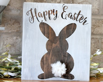 Easter Decor Bunny Wooden Sign Decorations Rustic Wood