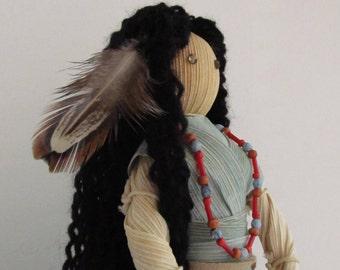 Native American,Corn Husk Figure,Dream Catcher,Country Crafts,Handcrafted Gift,Corn Husk Peep,Corn Husk Doll,Feather,Suede,Beads,Cedar Oil