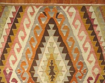 Vintage Turkish Oushak Anatolian Kilim Rug Size 3'1''x4'6''