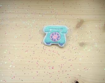 "Embroidered brooch ""Téléphone"""