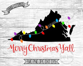 Merry Christmas Y'all Virginia Christmas Lights SVG / Merry Christmas Y'all Cut File and Printable / Commercial Use