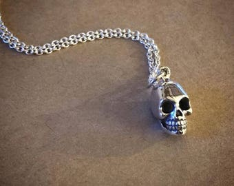 Human Skull Necklace - Sterling Silver