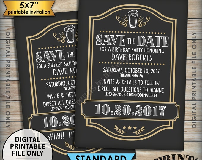 "Cheers and Beers Birthday Inviation Save the Date Gold Birthday, Beer Birthday, Beer Themed Party, PRINTABLE 5x7"" Save the Date"