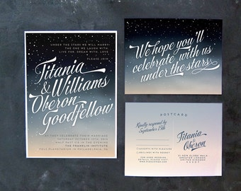 Titania and Oberon - Ombre night sky wedding invitations