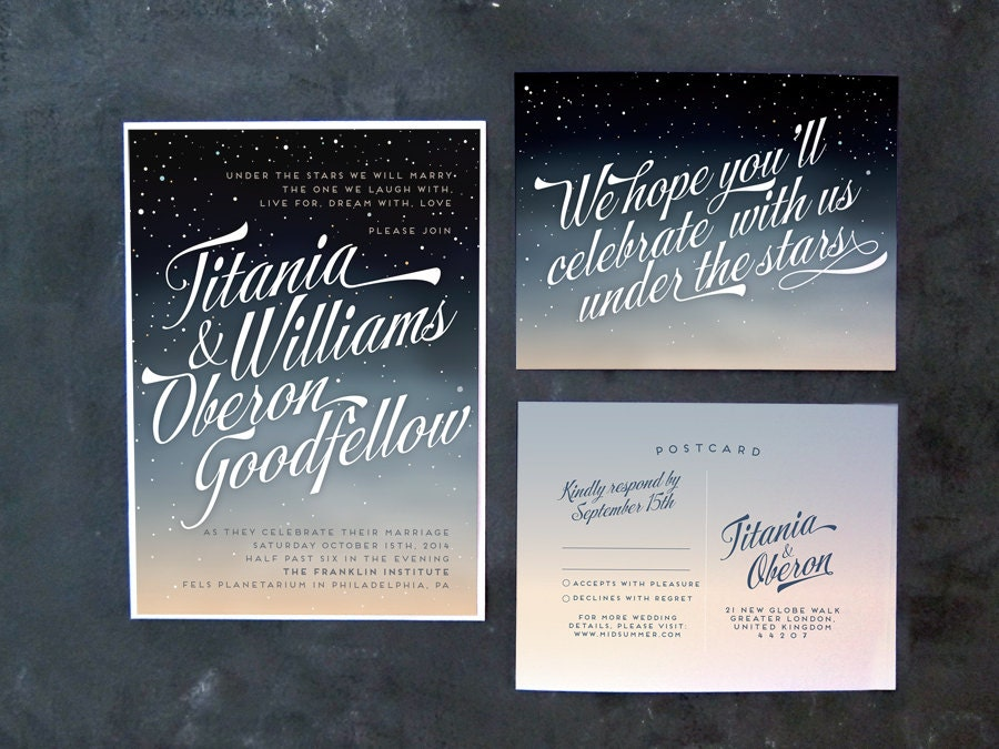 Titania and Oberon Ombre night sky wedding invitations