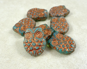 Owl Beads Czech Glass - Picasso Horned Owl Beads - Aqua Opal with Copper Finish (MISC/RJ-2482) - 18x15mm - Qty. 4