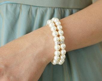 Wedding jewelry, Bridal bracelet, Bridesmaid Pearl rhinestone double strands Swarovski crystal bracelet, wedding party bridesmaid gifts