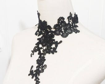 large black floral lace choker necklace // gold chain black bib / lace accessory // jewelry gift for her