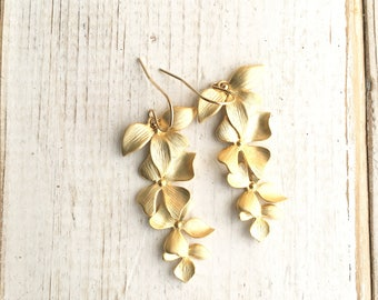 Gold Flower Earrings Cascading Orchid Earrings Gold Botanical Jewelry Bridal Earrings Gift for Her Leaf Earrings Gift for Mom Floral Earring