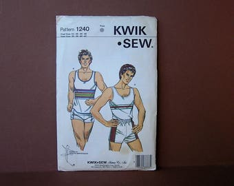Vintage 80s Men's Tank Top and Shorts Sewing Pattern . Kwik Sew 1240 . 1982 . uncut