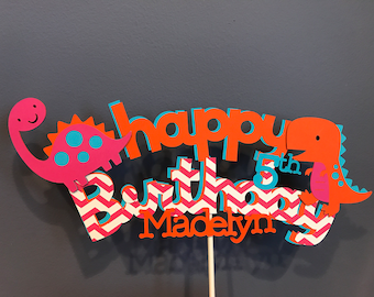 Happy Birthday Girl Dinosaur Cake Topper with added name and age