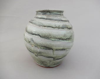 Unique Ceramic Vase, Gray Green Undulating Pottery Vase, Spherical Marbled Design Flower Vase