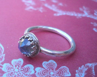 Faceted Labradorite Crown Ring in Sterling Silver