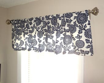 Curtain Valance Topper Window Treatment 52x15 Navy & White Floral  Valance Home Decor