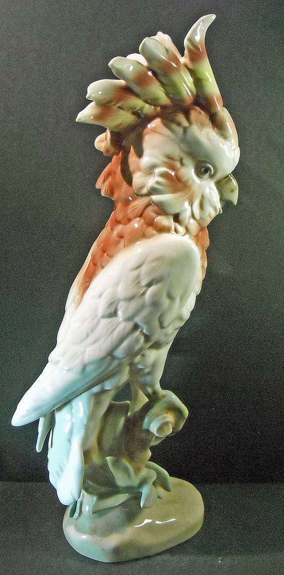 Stunning Large Colorful Royal Dux Bohemian Porcelain Major Mitchell's or Leadbeater's Cockatoo