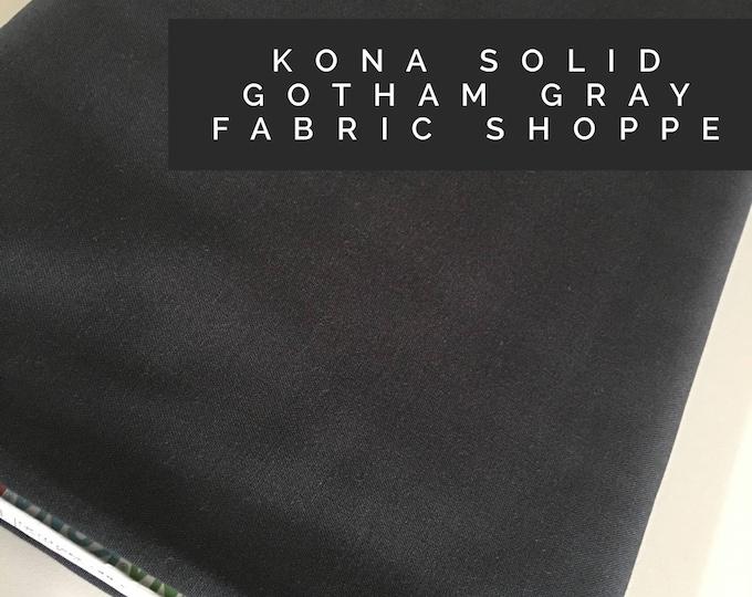 Kona cotton solid quilt fabric, Kona GOTHAM GRAY 1862, Solid fabric Yardage, Kaufman, Quilting Cotton fabric, Choose the cut