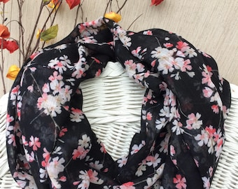 Asian Floral Infinity Scarf