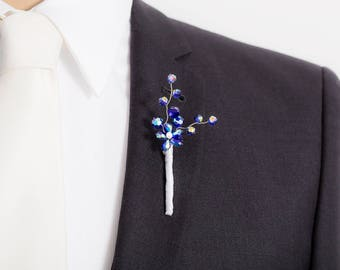 Limited Edition Roayl Blue Boutonniere with Flower- Blue Boutonniere - Mens Boutonniere