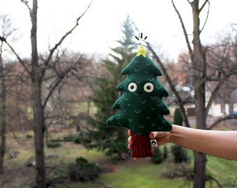 Happy Abies, tree plush doll, soft plant, plushie, printed toy, christmas vibes