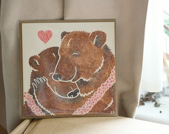 BROWN/GRIZZLY BEAR hug printed watercolour design greetings card by York artist Jess Chappell, Valentine's day, anniversary, wedding etc