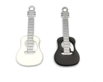 2 guitar charms black  enamel and silver tone, 19 mm x 48mm # CH 388