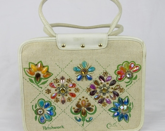 Vintage 1960s Enid Collins Purse / Patchwork Design / Jewels, Jeweled / Zipper / Handbag / Artisan / Texas / Mid Century / Canvas / Signed