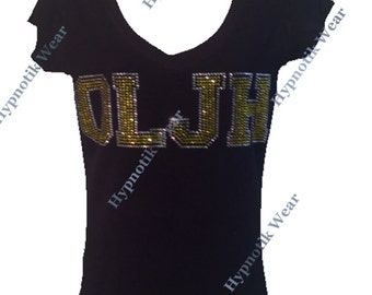 """Women's Rhinestone T-Shirt """" Customize High School or College University Letters """" in S, M, L, 1x, 2x, 3x Up to 4 Letters"""