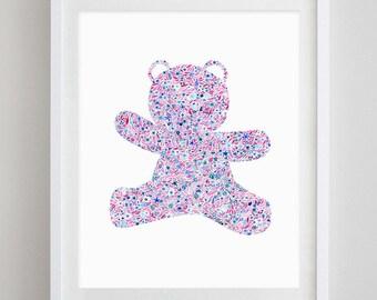 Teddy Bear Floral Watercolor Art Print - Sigma Delta Tau and Alpha Xi Delta