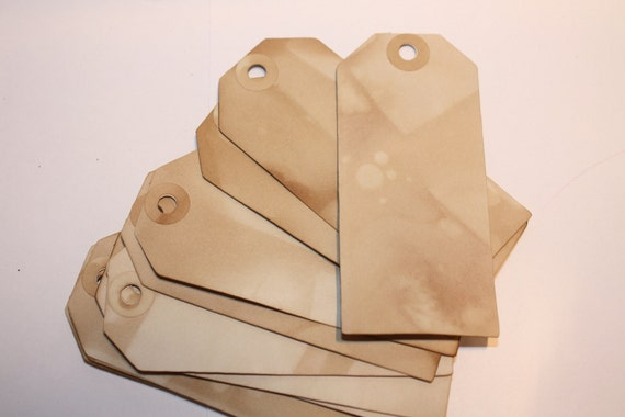 Tea Stained PRICE TAGs 50 Vintage Inspired LARGE 1 7/8 x 4 1/8 Tag with hole reinforcement labels