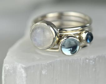 Moonstone Stacking Ring | Blue Topaz and Moonstone Ring | December Birthstone | Mothers Ring | June Birthstone | Winters Ring | Alison Moore