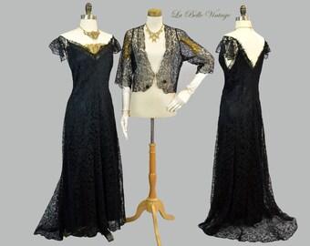 1930s Henri Bendel Lace Evening Gown Bolero L Vintage Black & Gold Alencon Lace Art Deco Dress Set