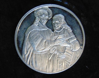 Franklin mint Rembrandt genius medal the bridal couple (the Jewish bride) sterling silver London hallmarked 1976