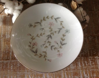 Harmony House Linda Soup Bowls Set of 6 Floral Pattern with Silver Trim