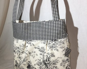 Black and White Toile and Gingham Concealed Carry Shoulder Bag Concealed Carry Purse Concealed Carry Handbag