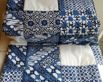 Wedding Guest Book Quilt, Navy and Blue Upcycled Wedding Quilt, Navy Quilted Throw, Navy Wedding Guest Book Quilt