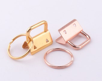 "1""inch(25mm) Key Fob Hardware with keyrings Gold Rose gold Key Chain key rings Ribbon Key Fobs Fabric Keyfob For Keychains Wristlets"