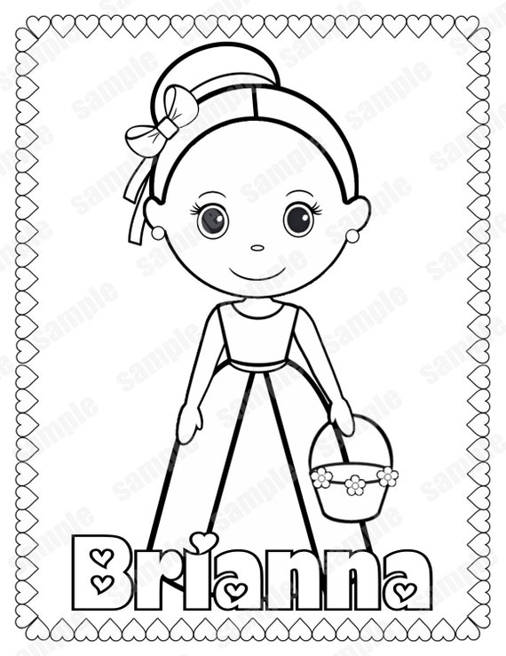 Printable flower girl or ring bearer wedding activity book coloring book reception favor kids personalized pdf or jpeg template