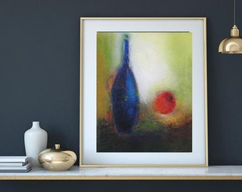 "Oil on canvas 16""x20"" modern still life,giclee art print from original oil work,texture shows well on print,blue green still life,red apple"